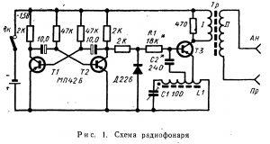 Схема радиофонаря для радиоориентирования